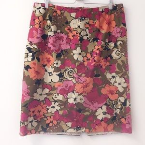 Talbots orange and pink floral pencil skirt, 16W